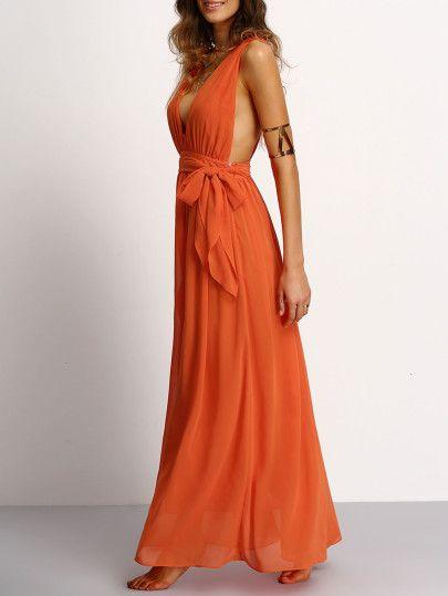 71c4060ab1e Plunging V-Neckline Tie Waist Maxi Dress -SheIn(Sheinside)