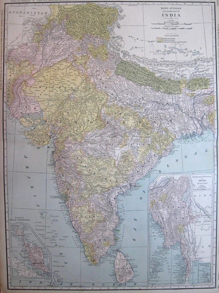 Rare antique india map c1920 rare size vintage map of india gallery rare antique india map c1920 rare size vintage map of india gallery wall art gumiabroncs Image collections