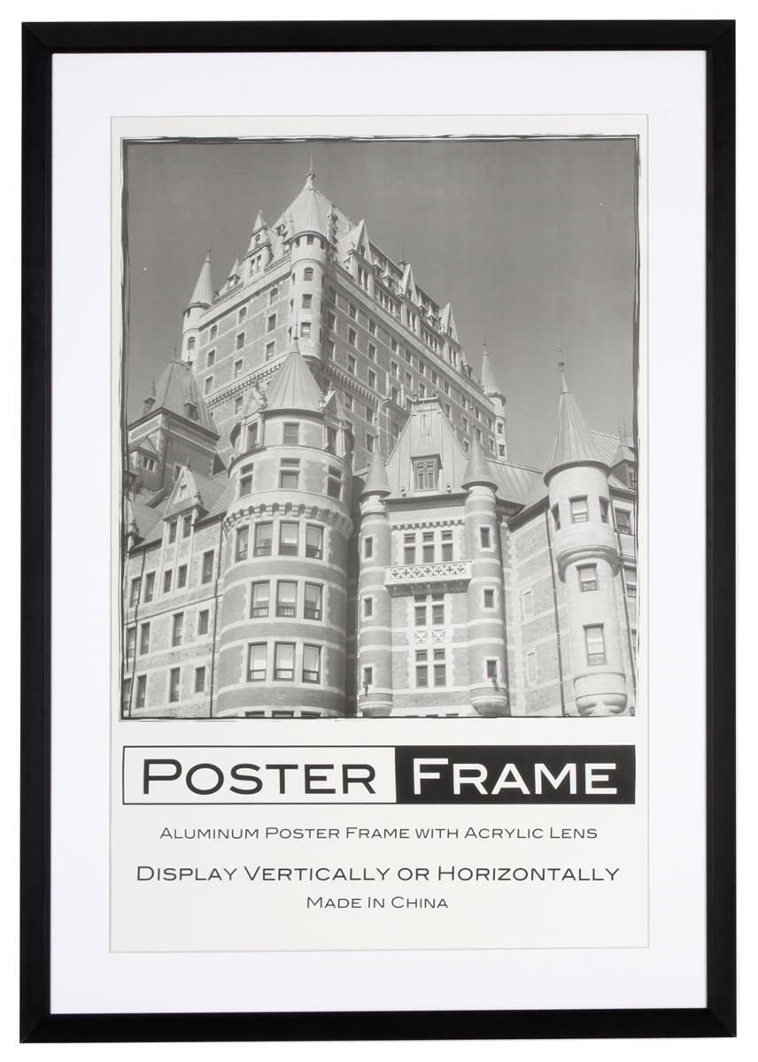 24 x 36 Poster Frame for Wall, Rear Load, 2 Mats(Black & White ...