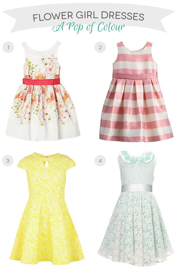2faeb8cb6 Cute and colourful flower girl dresses for a wedding with a pop of colour  theme   onefabday.com