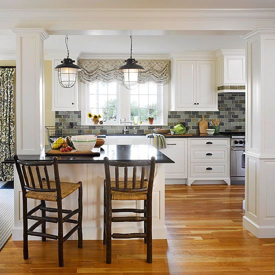 Kitchen Peninsula With Column: One Kitchen, Two Budgets: Traditional