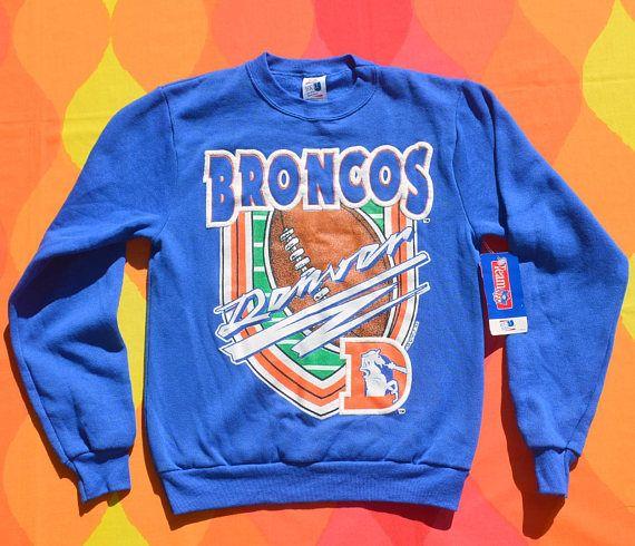 vintage 90s new sweatshirt denver BRONCOS nfl football stripe kids Large 14  nos nwt deadstock 0cd9491c8