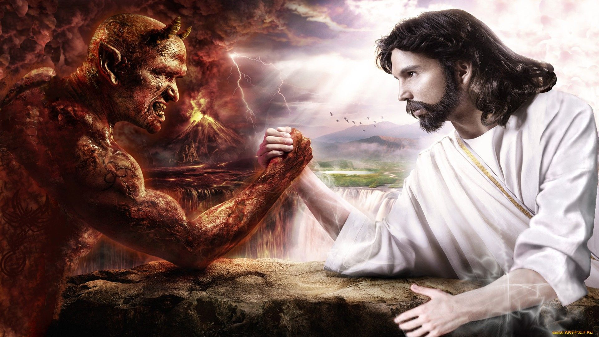 Иисус и демон картинка