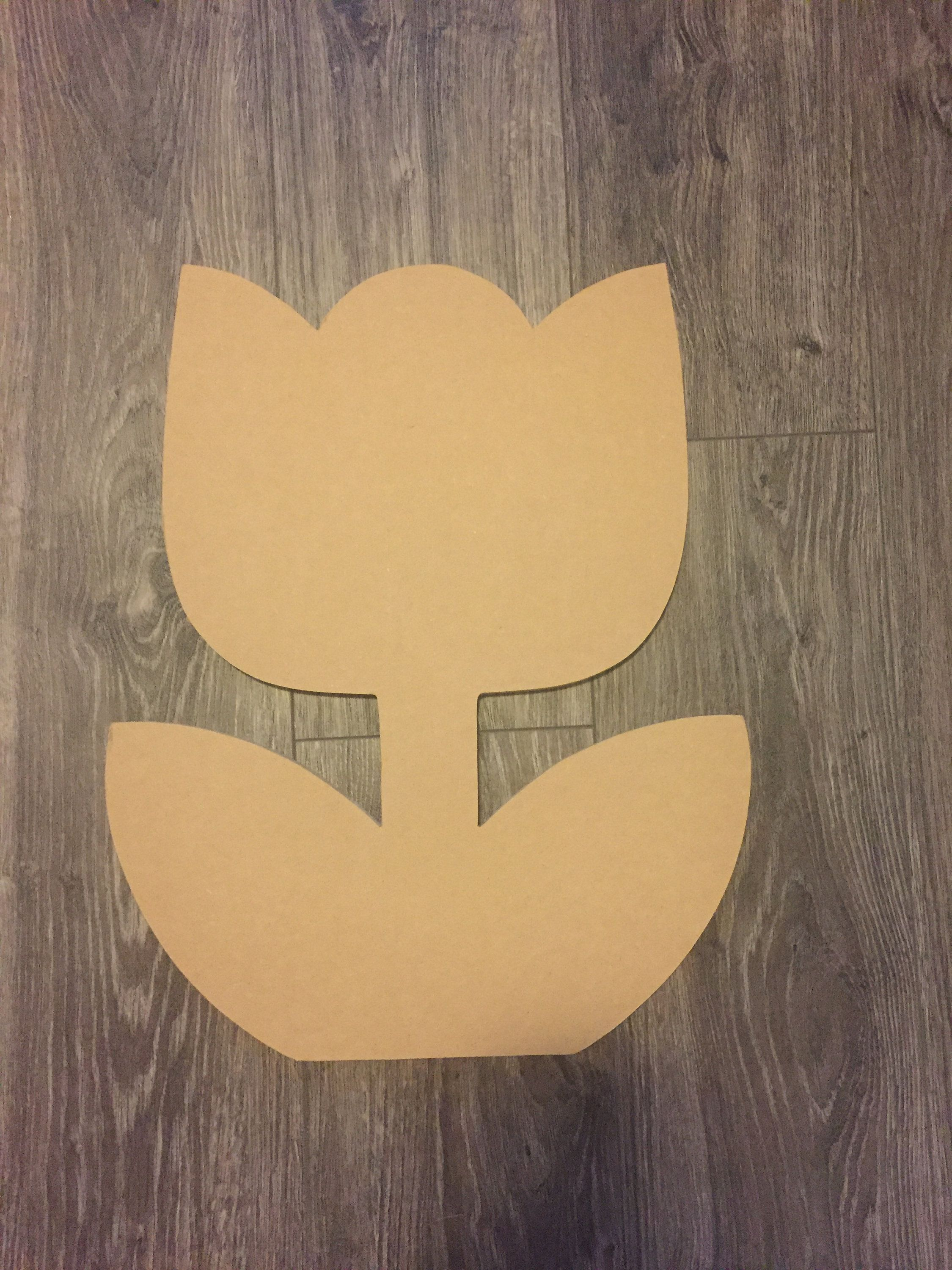 Various Sizes Unfinished Wood Tulip Laser Cutout Ready to Paint /& Personalize Wreath Accent Door Hanger