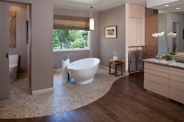 pierre plancher de bois des ides de conception de salle de bains balanant baignoire autoportante