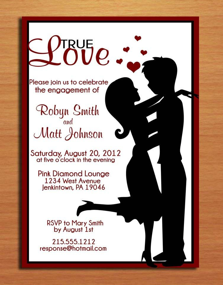 True Love Couple Silhouette Engagement Party Customized – Engagement Party Invitations Etsy