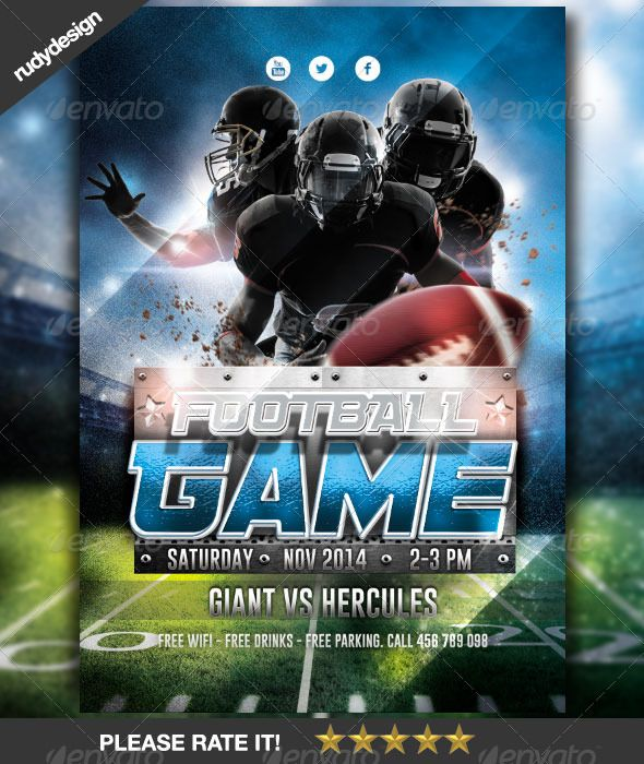 American Football Game Flyer Design American football, Flyer