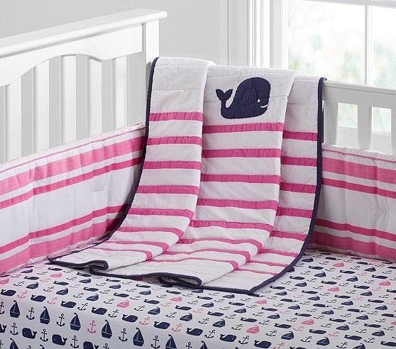 Hamptons Whale Nursery Bedding Baby Girl Nursery Bedding Baby