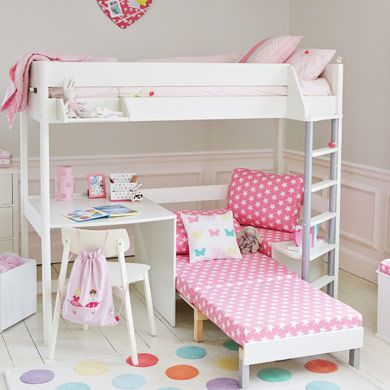 Merlin High Sleeper White with Pink Star sofa bed