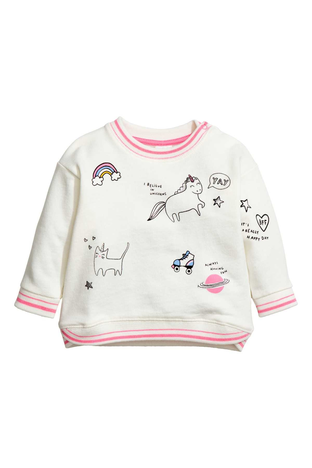 Natural White Unicorn Long Sleeved Sweatshirt With A Printed Design Snap Fastener On One Shoulder Printed Sweatshirts Baby Girl Sweatshirt Kids Clothes Sale [ 1800 x 1200 Pixel ]