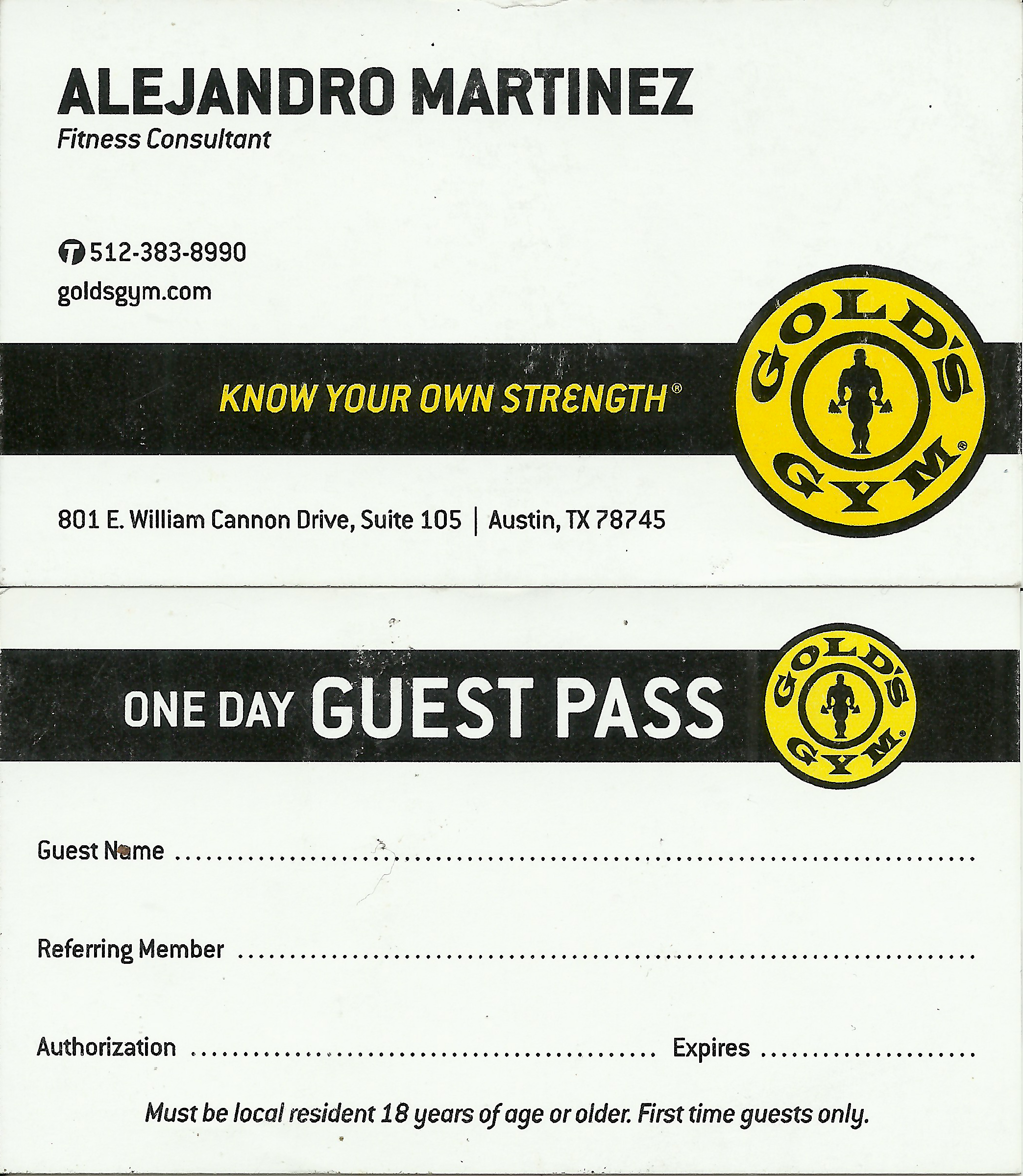 Alejandro Martinez Gold's Gym Business Card Example Graphic