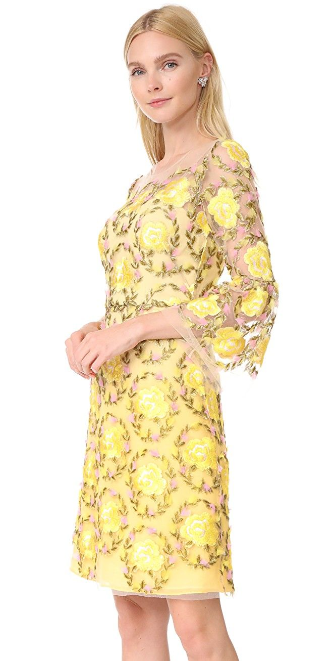 Embroidered Cocktail Dress with Flutter Sleeves