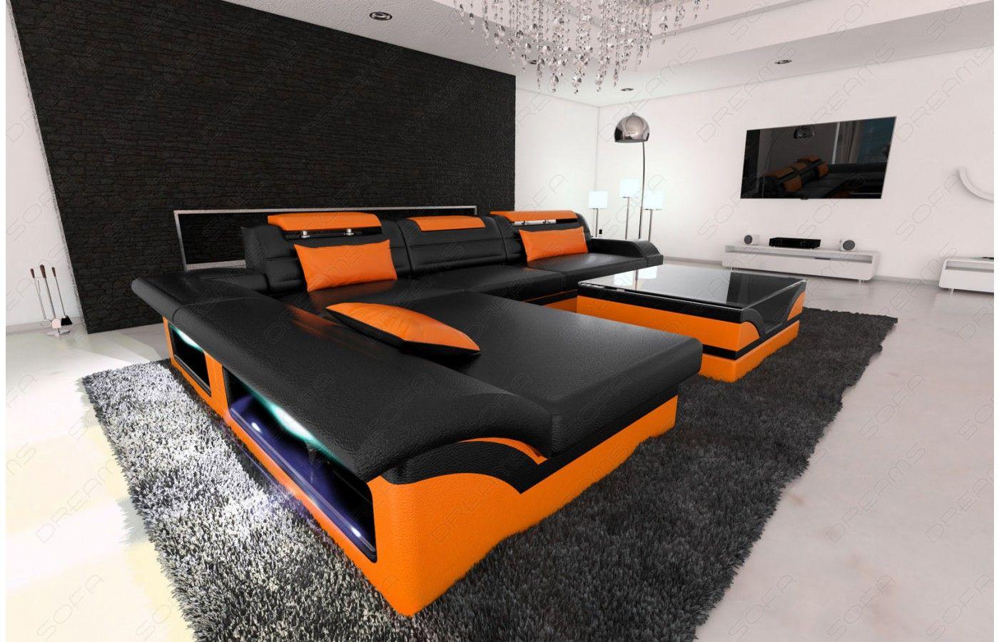 Designer Ledersofas sofa monza als modernes ecksofa in der l form mit beleuchtung