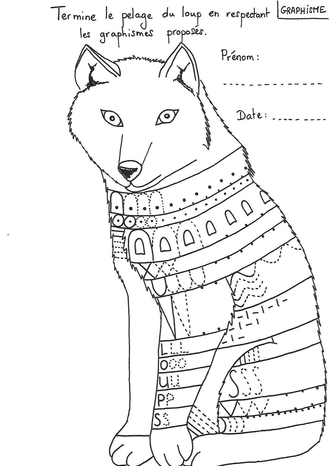 Exceptionnel fiche modèle dessin dirigé du loup (pour des GS) | Loup  SD13