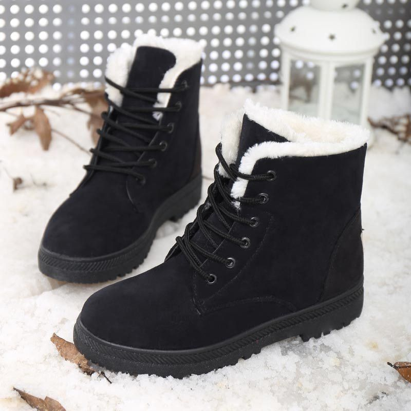 c56f91927a04 2016 New Hot Women Boots Snow Warm Winter Boots Botas Mujer Lace Up Fur Ankle  Boots Ladies Winter Shoes Black Red High-Top Heels