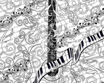 adult coloring page printable guitar coloring pages music coloring poster instant download coloring by juleez