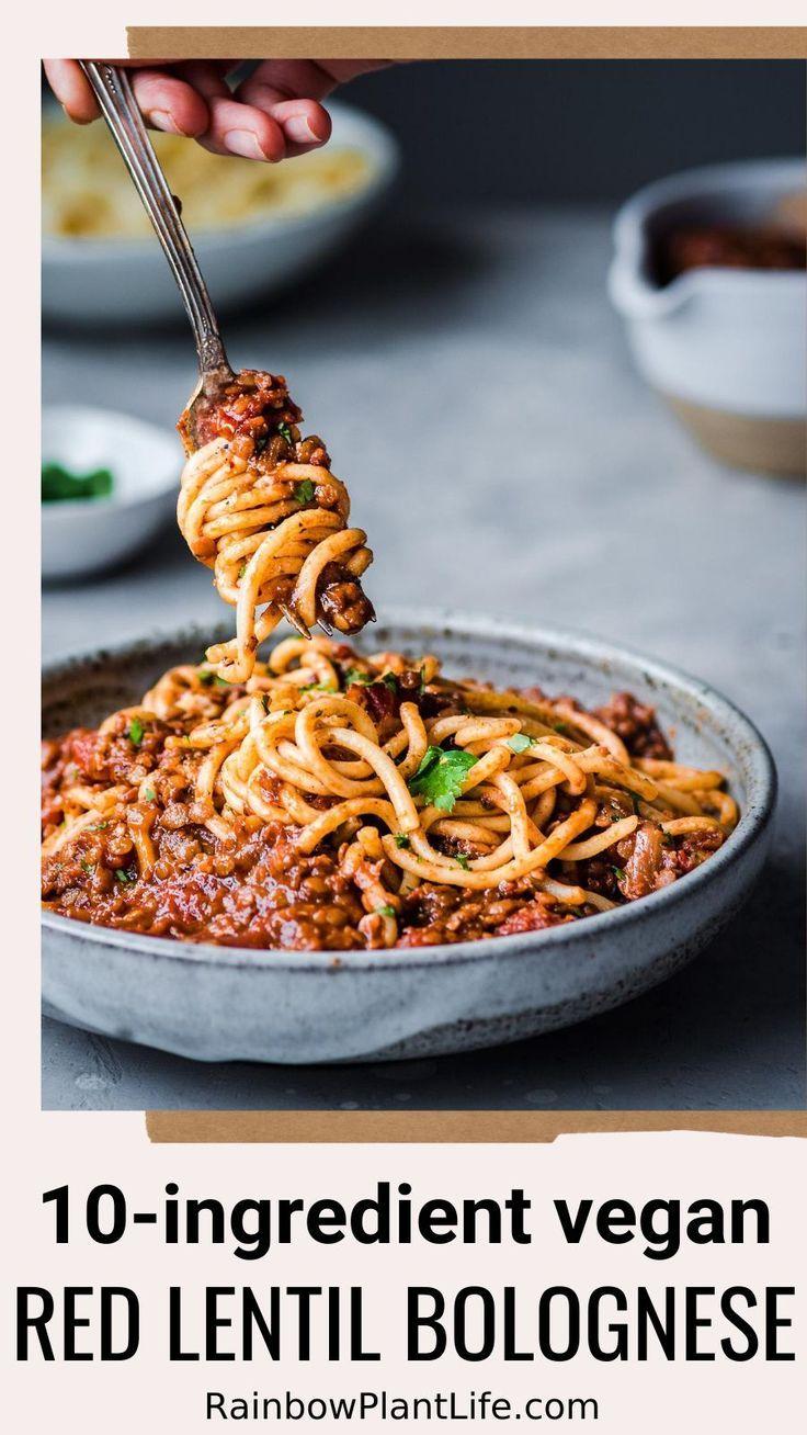 Photo of 10-Ingredient Vegan Red Lentil Bolognese