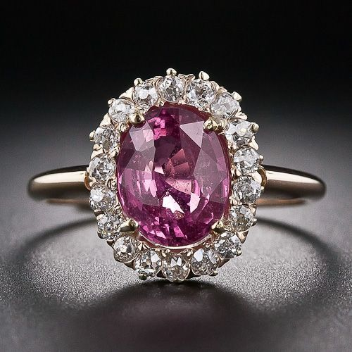 Antique Pink Sapphire And Diamond Ring A Bright Deep Pink Sapphire Weighing 2 50 Carats Glistens From W Antique Gemstone Rings Antique Rings Pink Jewelry