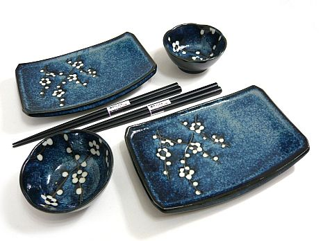blue plum sushi set for two clay pinterest keramik geschirr und sushi. Black Bedroom Furniture Sets. Home Design Ideas