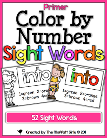 The Moffatt Girls: Color by Number Sight Words UPDATED!