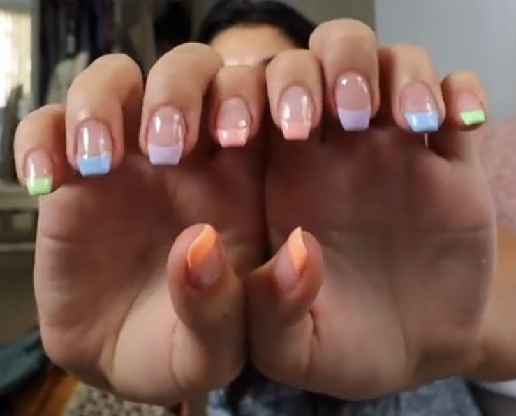 French Tip Nails With Pastel Colours In 2020 Colored Nail Tips French Colored Nail Tips Colored French Nails