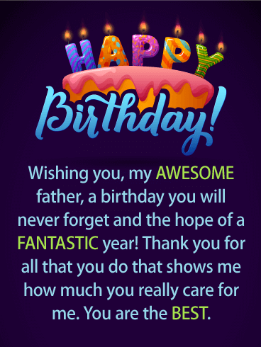 Have A Fantastic Year Happy Birthday Card For Father Wish Your