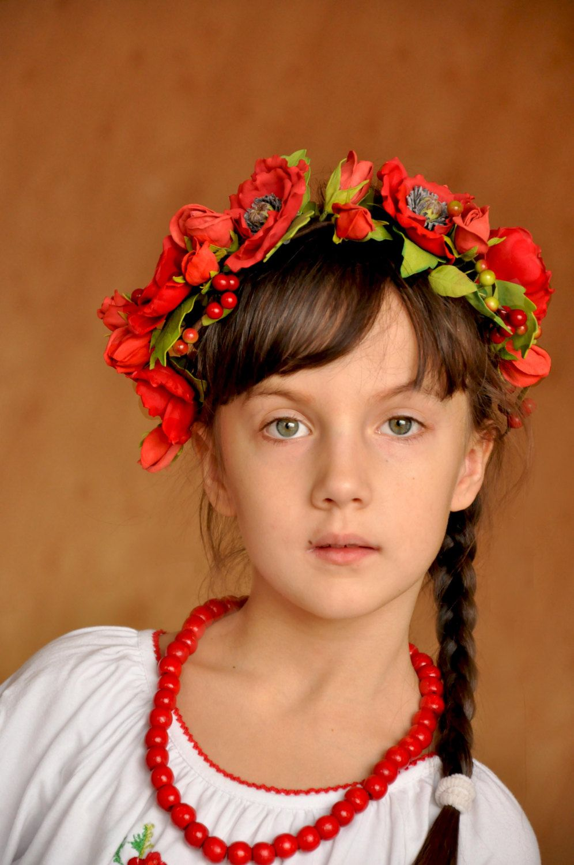 Red Flower Crown Flower Headband Bridal Hair Piece Flower Red Roses