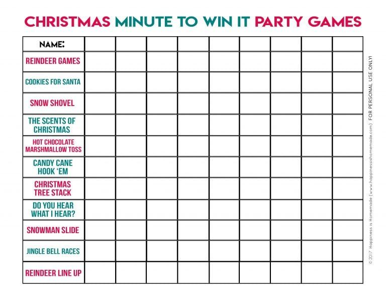 Christmas Minute to Win It Games - Happiness is Homemade Workforce