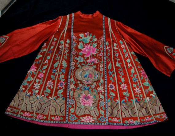 Antique Chinese Mandarin Embroidered Silk Skirt by snapitupvintage,