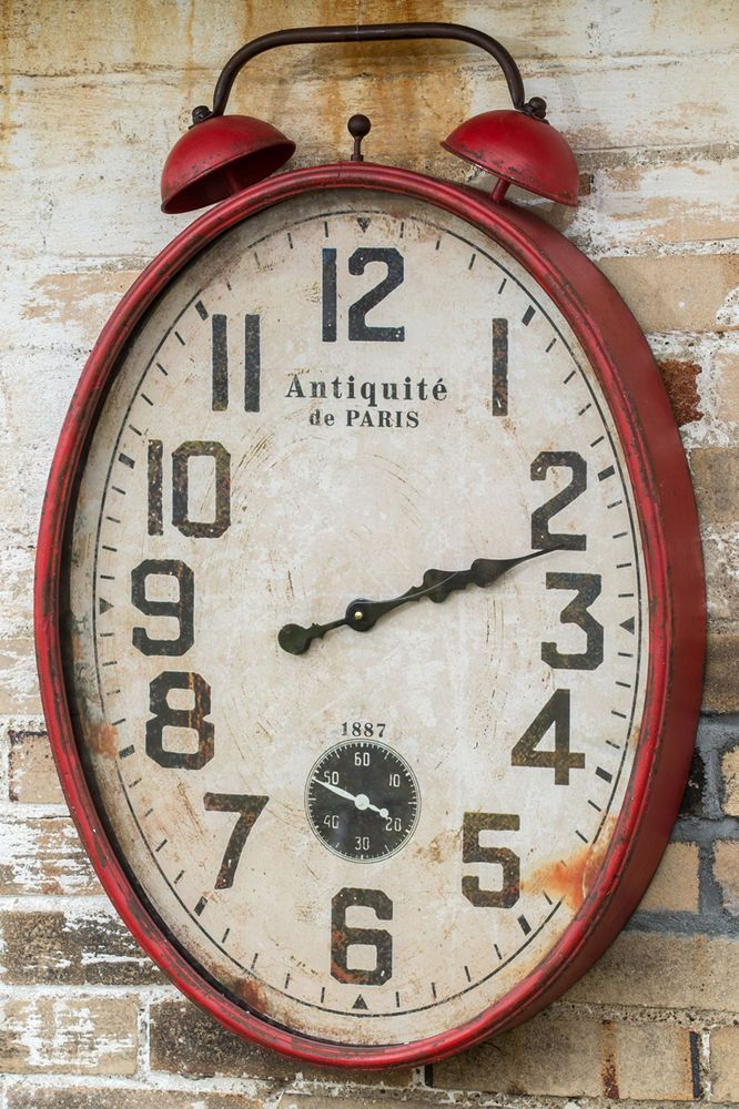 Vintage Rustic Extra Large Red Two Bell Wall Clock 3 Tall Unbranded