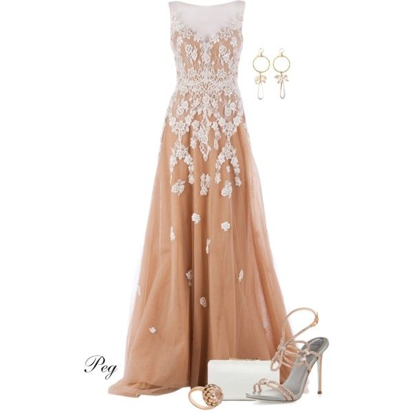 Evening Gown by derniers on Polyvore featuring polyvore, fashion, style, Zuhair Murad, René Caovilla, Vince Camuto, Meadowlark and Devon Leigh