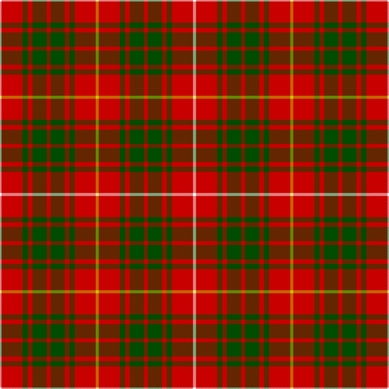 Clan Bruce Tartan as published in the Vestiarium Scoticum, Scotland