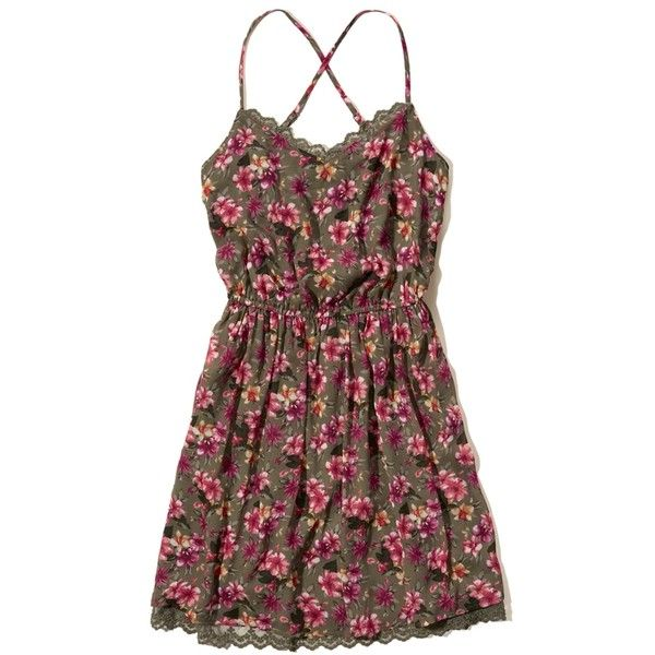 Hollister Printed Chiffon Easy Waist Dress ($18) ❤ liked on Polyvore featuring dresses, vestidos, olive floral, chiffon dresses, strappy dress, criss-cross back dresses, strap dress and army green dresses