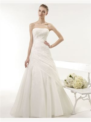 White A Line Strapless Lace Organza 2014 Wedding Dress