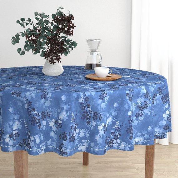Sakura Round Tablecloth Cherry Blossom In Blue By Adenaj