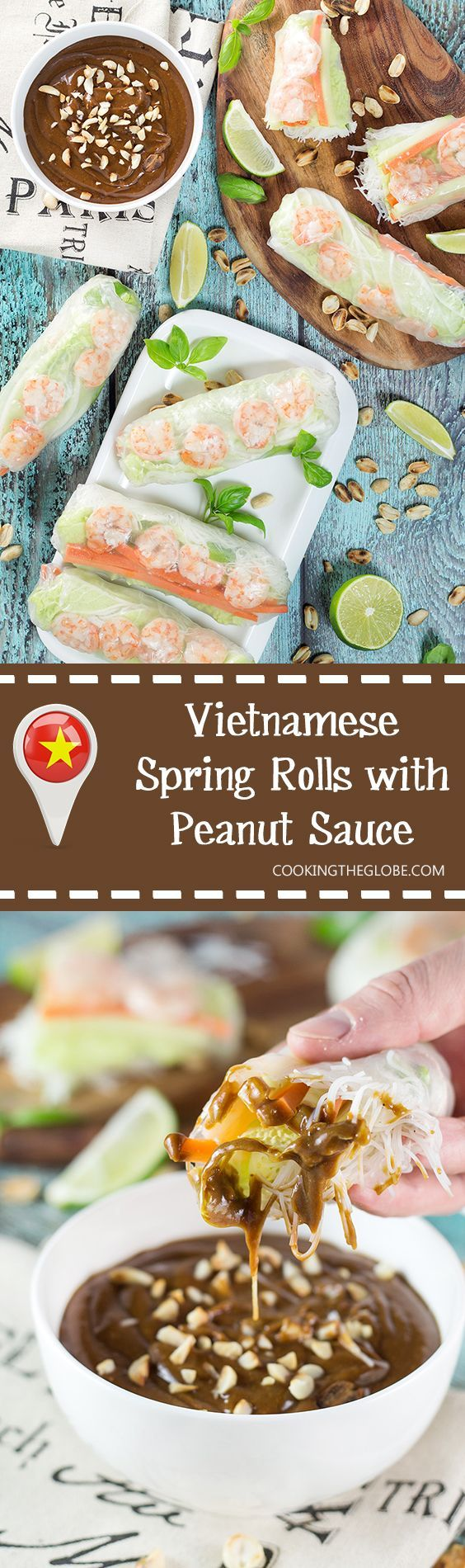 These fresh Vietnamese Spring Rolls (Goi Cuon) are stuffed with pork, shrimp, veggies, and rolled with rice paper. Served with crazy delicious peanut sauce, they make a perfect appetizer or snack! | http://cookingtheglobe.com