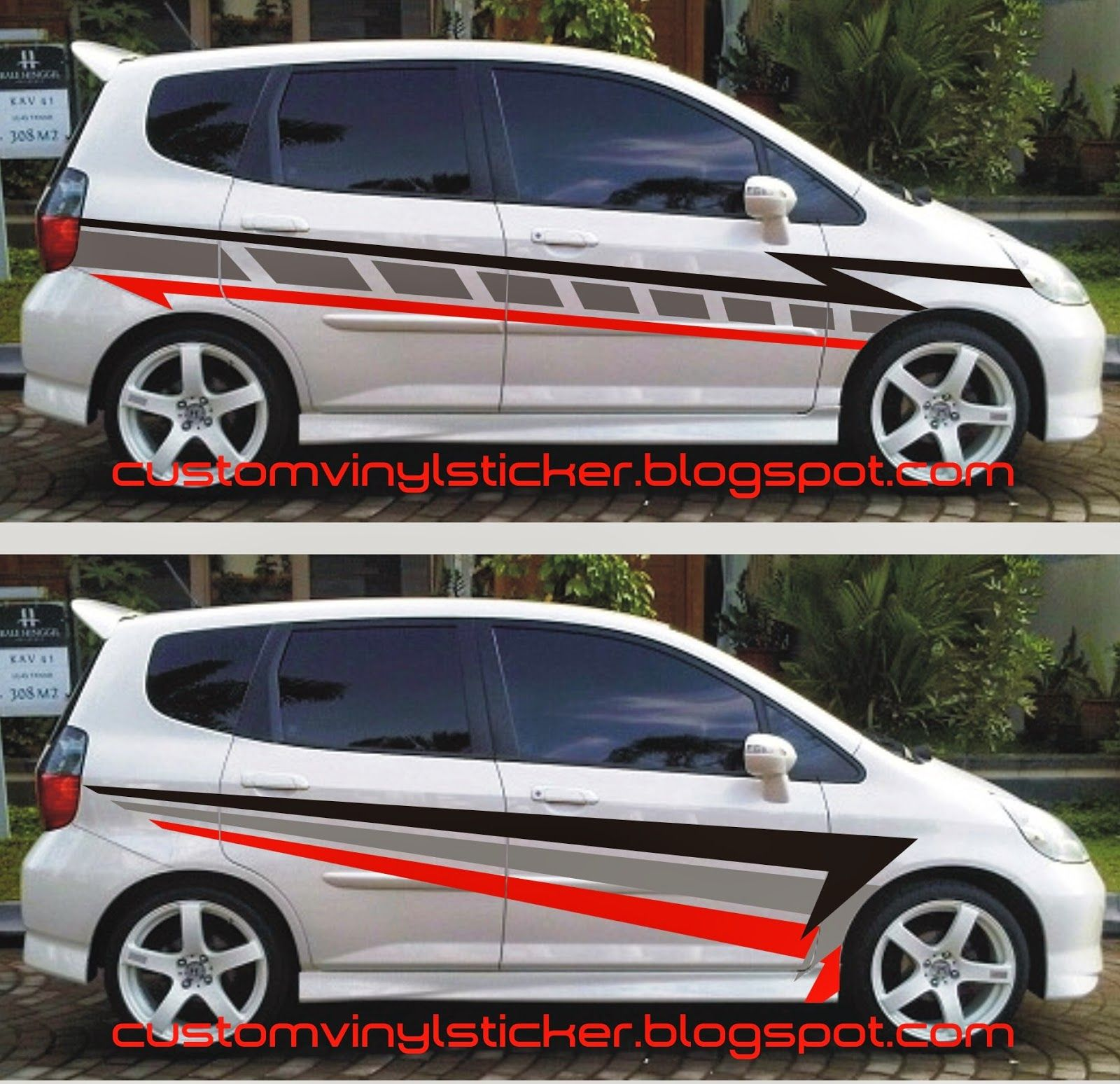 Car cutting sticker design - Honda Jazz White Simply Striping Sticker Concept