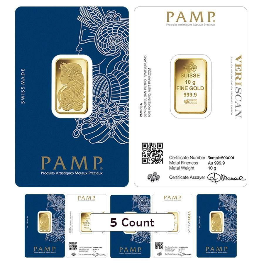 Lot Of 5 10 Gram Gold Bar Pamp Suisse Lady Fortuna Veriscan 9999 Fine In Assay Gold Bar Fortuna Gold