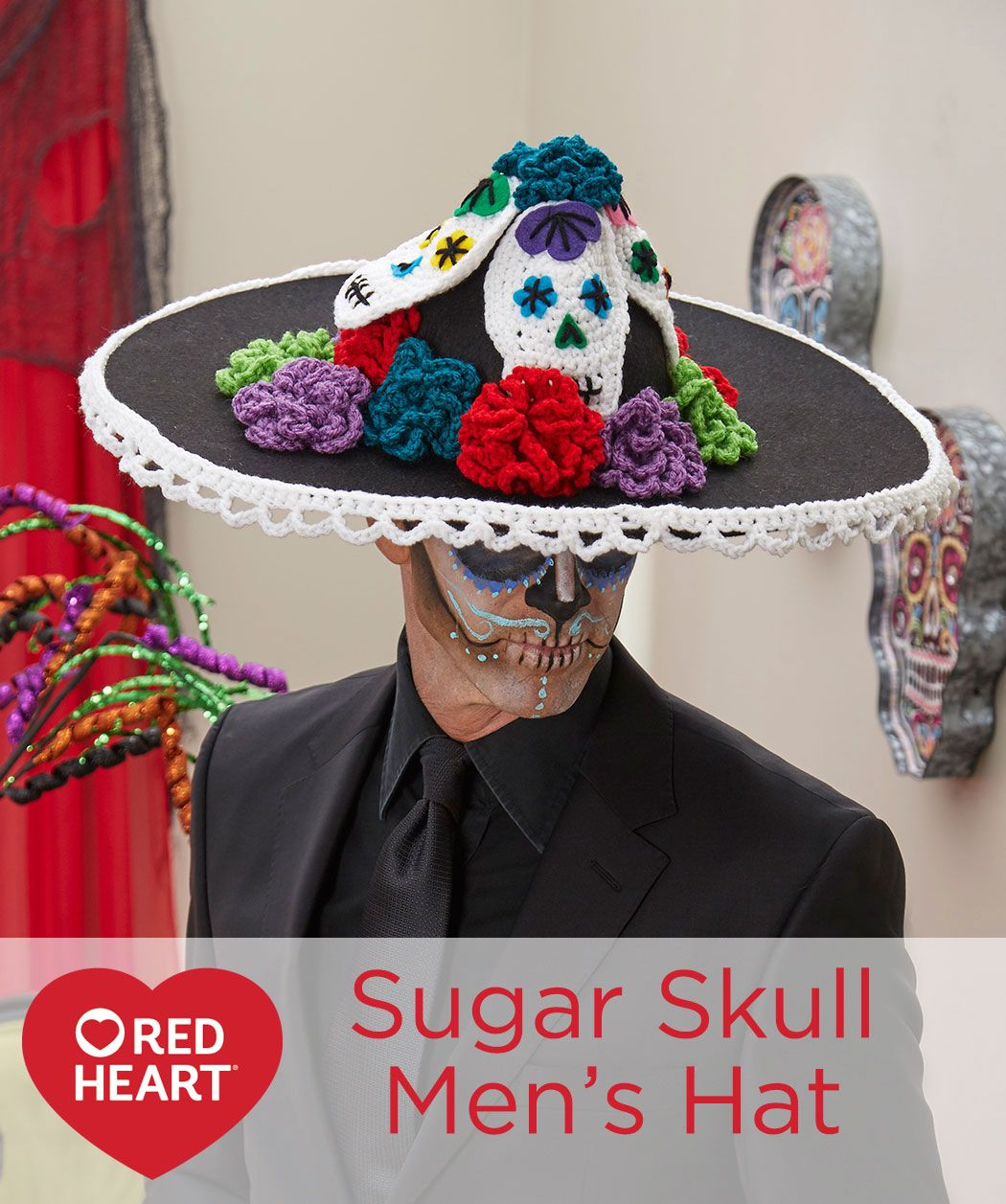 Day of the Dead Pillow Free Crochet Pattern in Red Heart Yarns ... | 1257x1050