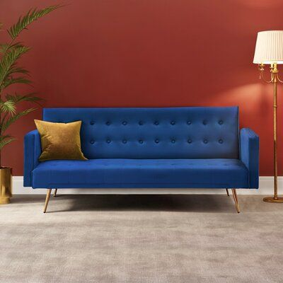 Our thoughtfully designed convertible sleeper sofas offer charm and custom elegance to any design aesthetic, providing you and your family with a plush and comfortable seat. | Mercer41 Green Velvet Convertible Square Arm Multifunctional Sleeper Sofas Bed Velvet in Blue, Size 30.0 H x 76.0 W x 31.0 D in | Wayfair
