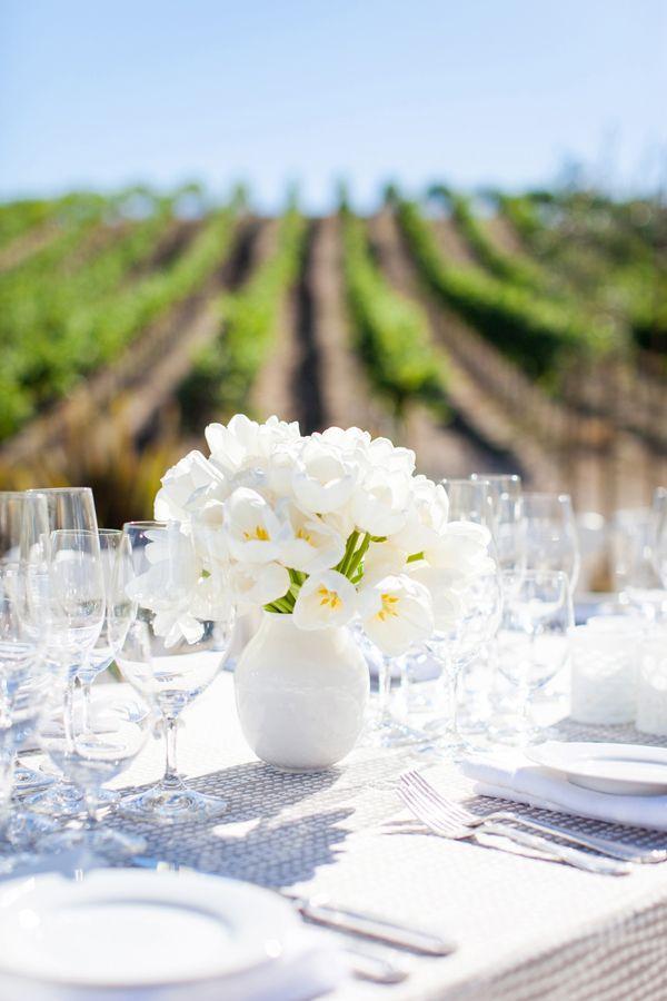 Vineyard Wedding with white tulip centerpiece