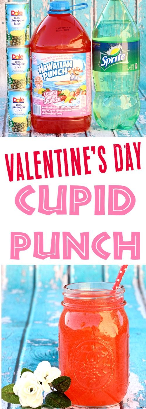 Valentines Day Recipes Easy Punch for Kids Party or Dinner #alcoholicpartydrinks