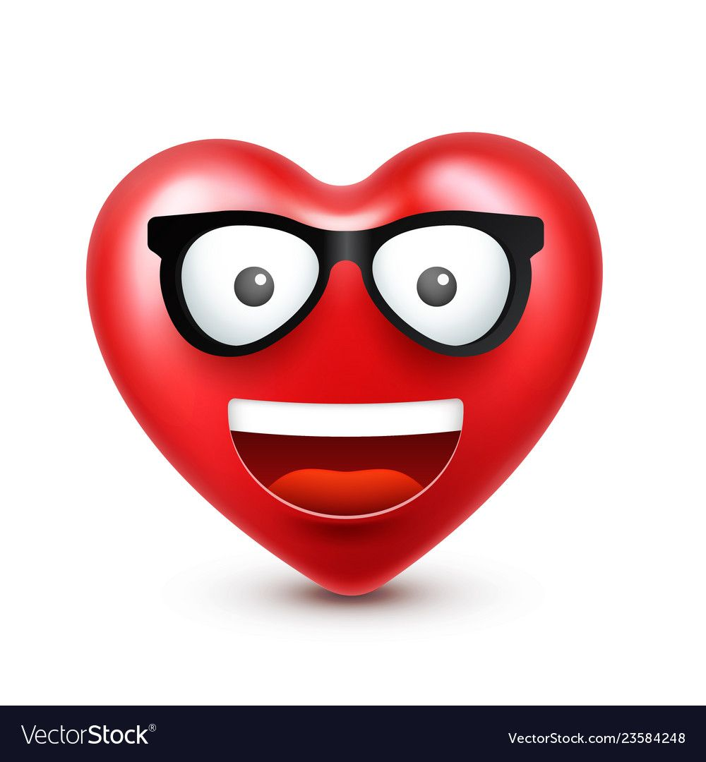 Heart Smiley Emoji For Valentines Day Royalty Free Vector