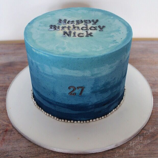 Watercolor Buttercream Cake Ombre Navy Blue And Silver