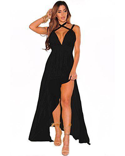 Lalagen Women S V Neck Cross Halter Sleeveless Split Party Maxi Dress Reviews Maxi Dress Party Maxi Dress Lace Dress Black
