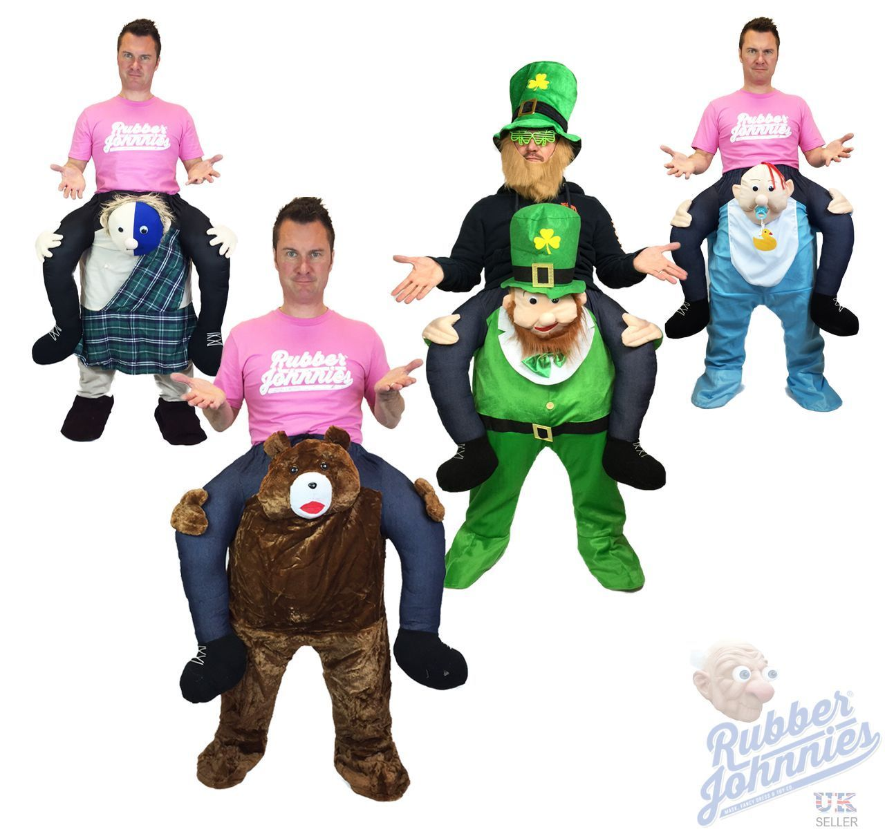 Carry Me Piggy Back Leprechaun Baby Bear Mascot Fancy Dress Costume ...