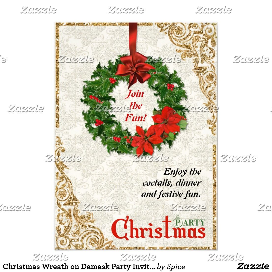 Christmas Wreath on Damask Party Invitation | Damask party, Party ...