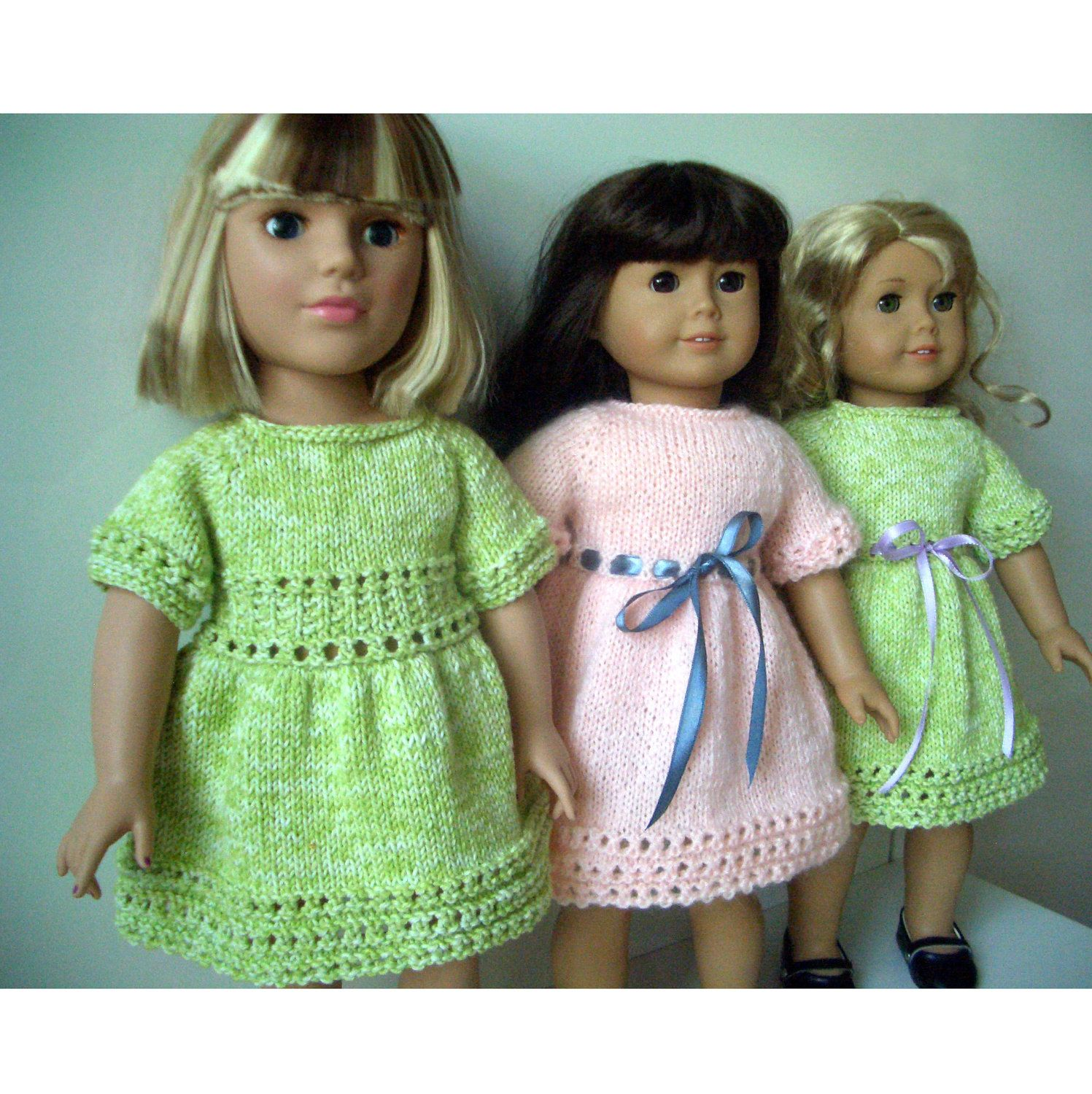 American Girl 18 inch doll Knitting pattern Lime Cooler DRESS (38 ...