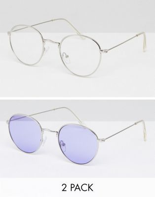 53774afe4 2 Pack 90s Round Sunglasses With Lilac Lens & Clear Lens | What The ...