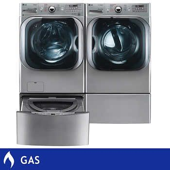 LG Twin Wash 5.2CuFt Mega Capacity Washer with TurboWash Technology 9.0CuFt Mega Capacity GAS SteamDryer with 1.0CuFt SideKick Pedestal Washer in Graphite Steel